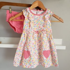 Carter's 24M Pink Ditsy Floral Ruffle Dress Set